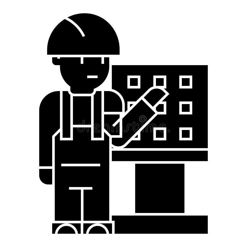 Κύριος - επιστάτης - μηχανικός με το εικονίδιο εργαλειομηχανών, διανυσματική απεικόνιση, μαύρο σημάδι στο απομονωμένο υπόβαθρο διανυσματική απεικόνιση