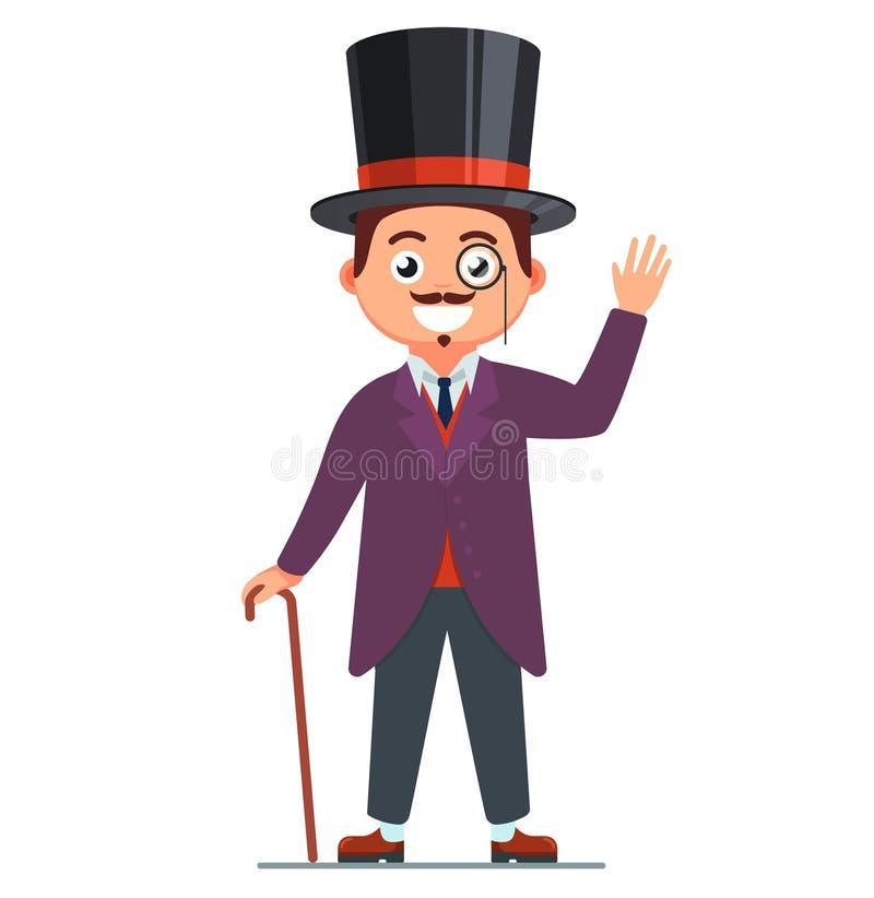 Κύριος σε ένα κοστούμι και ένα χαμόγελο 19ο άτομο αιώνα τοπ καλύβα στο κεφάλι διανυσματική απεικόνιση
