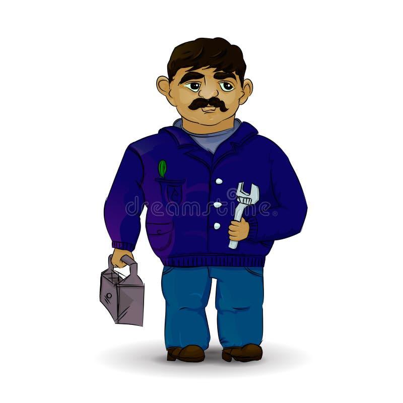 Κύριος υδραυλικός στο διάνυσμα Επιστάτης στο λευκό διανυσματική απεικόνιση