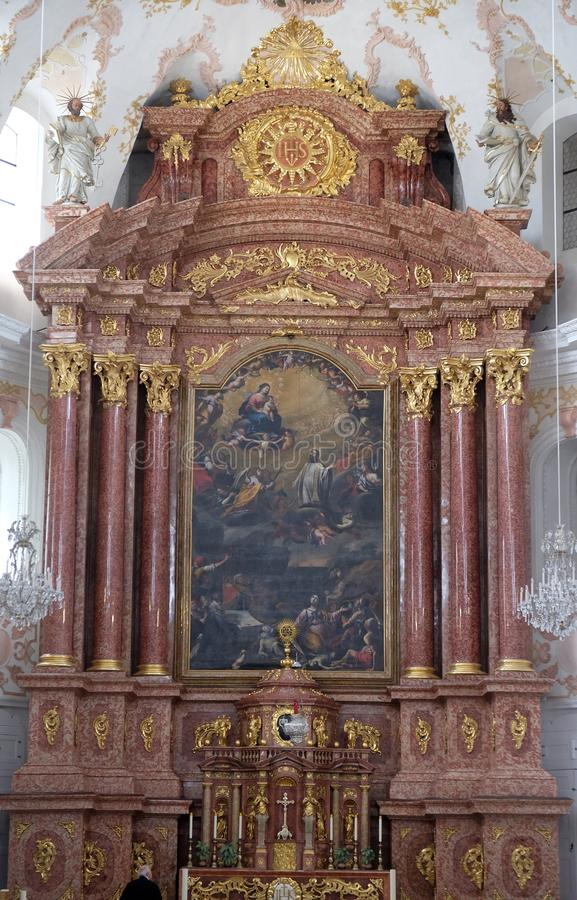 Κύριος altarltar στην εκκλησία Jesuit του ST Francis Xavier σε Λουκέρνη στοκ φωτογραφία με δικαίωμα ελεύθερης χρήσης