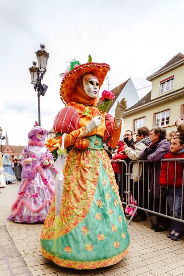 Κύριο άρθρο, στις 6 Μαρτίου 2016: Rosheim, Γαλλία: Ενετική μάσκα καρναβαλιού στοκ φωτογραφία με δικαίωμα ελεύθερης χρήσης