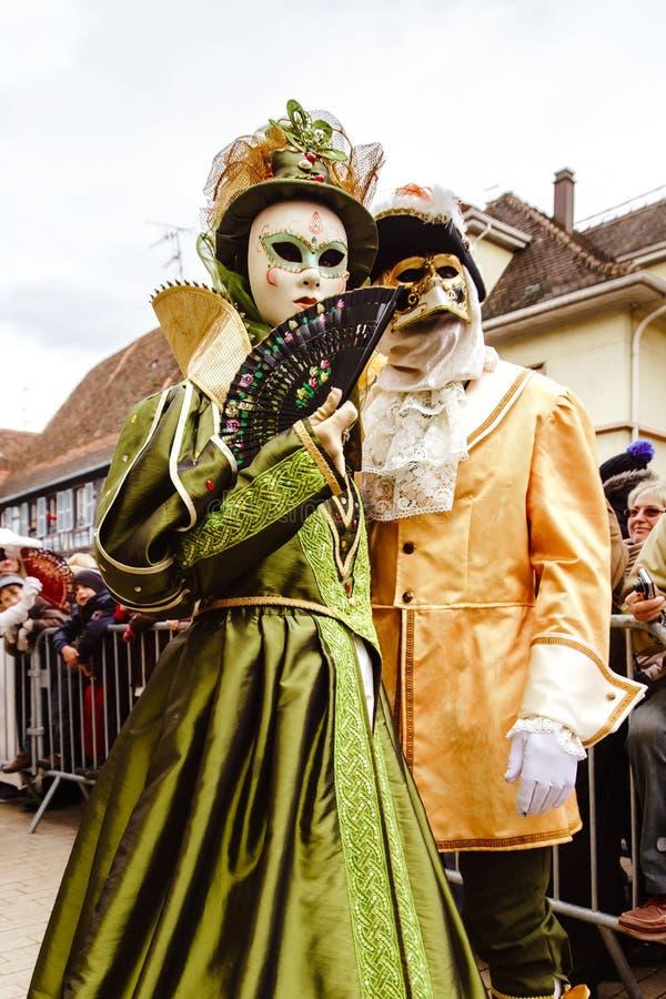 Κύριο άρθρο, στις 6 Μαρτίου 2016: Rosheim, Γαλλία: Ενετική μάσκα καρναβαλιού στοκ φωτογραφίες με δικαίωμα ελεύθερης χρήσης