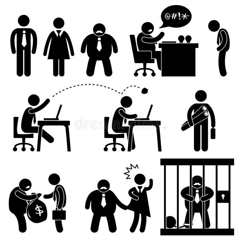 κύριο γραφείο επιχειρησιακών αστείο εικονιδίων απεικόνιση αποθεμάτων