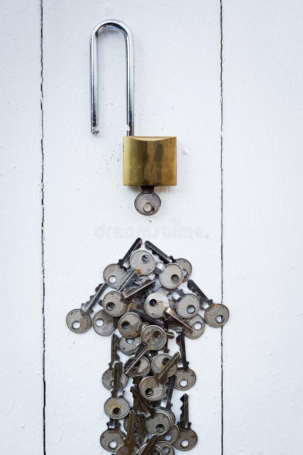 κύριο κλειδί γύρω από το κλειδί στη λευκιά ξύλινη ομάδα υποβάθρου για την επιτυχία στοκ φωτογραφία με δικαίωμα ελεύθερης χρήσης