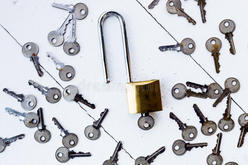 Κύριο κλειδί γύρω από το κλειδί στο άσπρο ξύλινο υπόβαθρο στοκ εικόνα