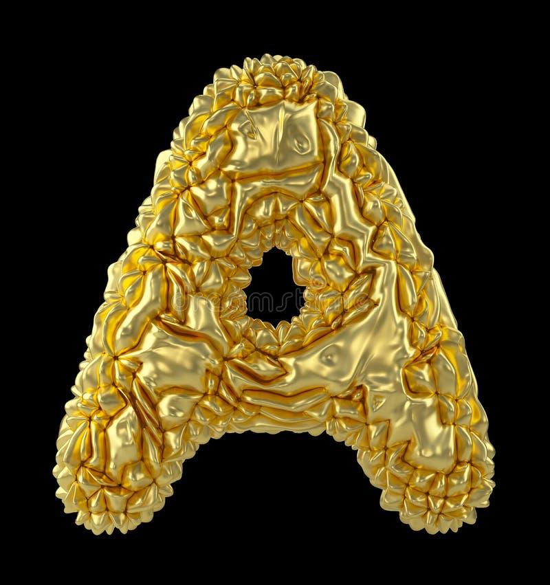 Κύριο λατινικό γράμμα Α φιαγμένο από τσαλακωμένο χρυσό φύλλο αλουμινίου που απομονώνεται στο μαύρο υπόβαθρο απεικόνιση αποθεμάτων