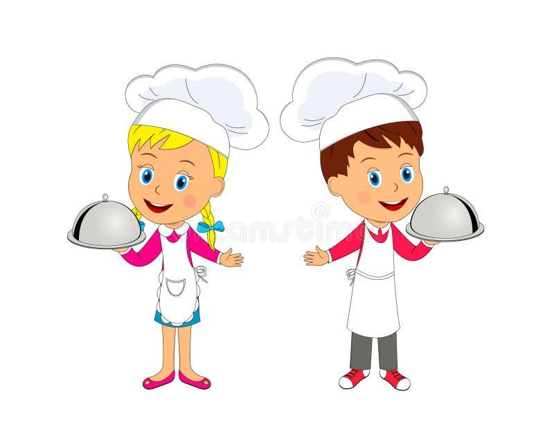 Κύριο μαγείρεμα αγοριών και κοριτσιών απεικόνιση αποθεμάτων