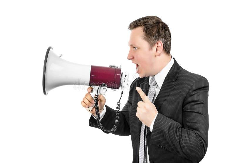 Κύριο να φωνάξει με megaphone στοκ εικόνα