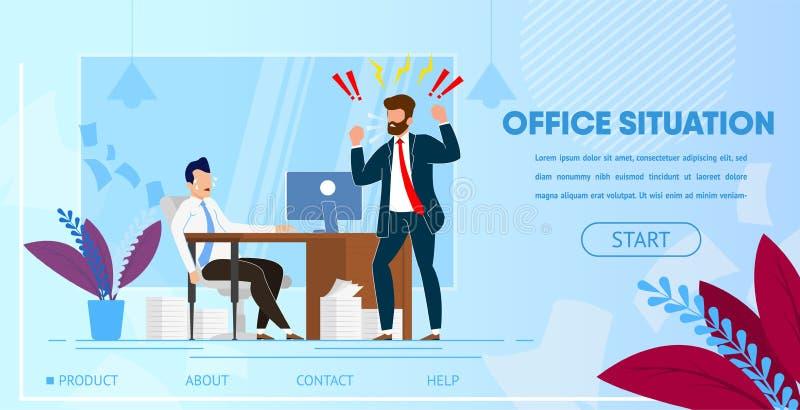 Κύριο να φωνάξει στον εργαζόμενο γραφείων υπαλλήλων διανυσματική απεικόνιση