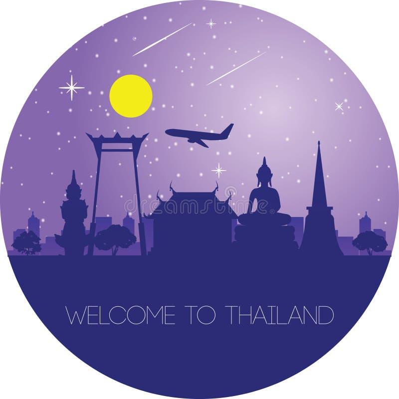 Κύριο ορόσημο της Ταϊλάνδης, σχέδιο σκιαγραφιών περιλήψεων απεικόνιση αποθεμάτων