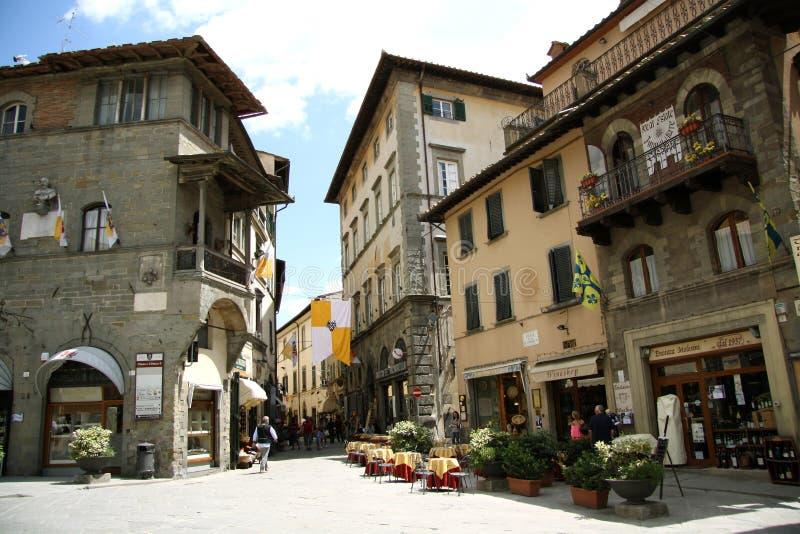 Κύριο τετράγωνο σε Cortona (Ιταλία) στοκ φωτογραφία