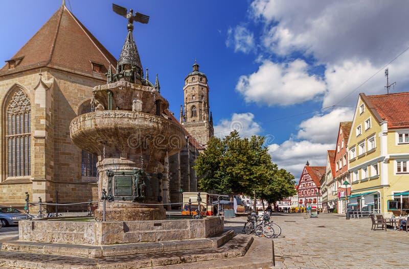 Κύριο τετραγωνικό Nordlingen - Γερμανία στοκ φωτογραφίες