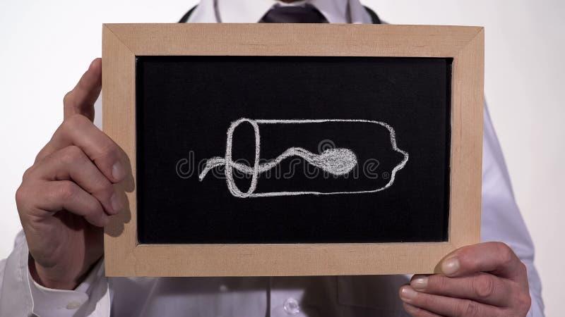 Κύτταρο σπέρματος μέσα στο προφυλακτικό που επισύρεται την προσοχή στον πίνακα στα χέρια γιατρών, έλεγχος των γεννήσεων στοκ φωτογραφίες με δικαίωμα ελεύθερης χρήσης