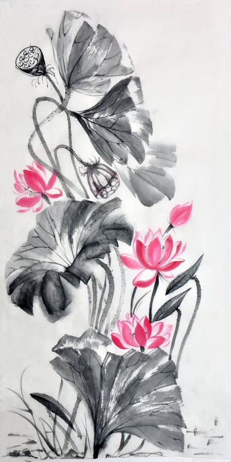 Κύλινδρος εγγράφου ρυζιού watercolor λουλουδιών Lotus ελεύθερη απεικόνιση δικαιώματος