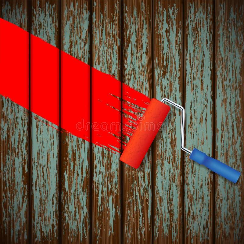Κύλινδρος χρωμάτων και ένας παλαιός ξύλινος φράκτης διανυσματική απεικόνιση
