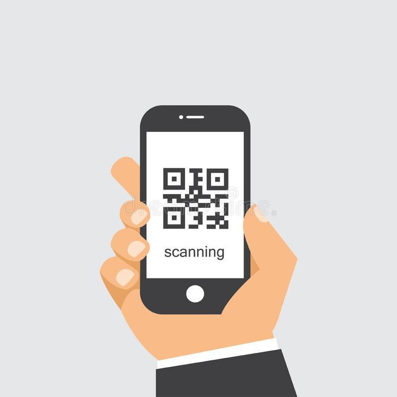 Κώδικας ανίχνευσης QR στο κινητό τηλέφωνο ελεύθερη απεικόνιση δικαιώματος
