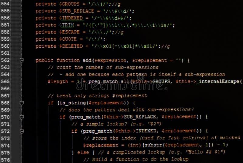 Κώδικας ιστοσελίδας javascript στο μηνύτορα υπολογιστών στοκ εικόνες