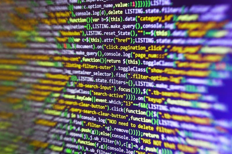 Κώδικας ιστοχώρου HTML στη φωτογραφία κινηματογραφήσεων σε πρώτο πλάνο επίδειξης lap-top Λειτουργίες Javascript, μεταβλητές, αντι στοκ εικόνα