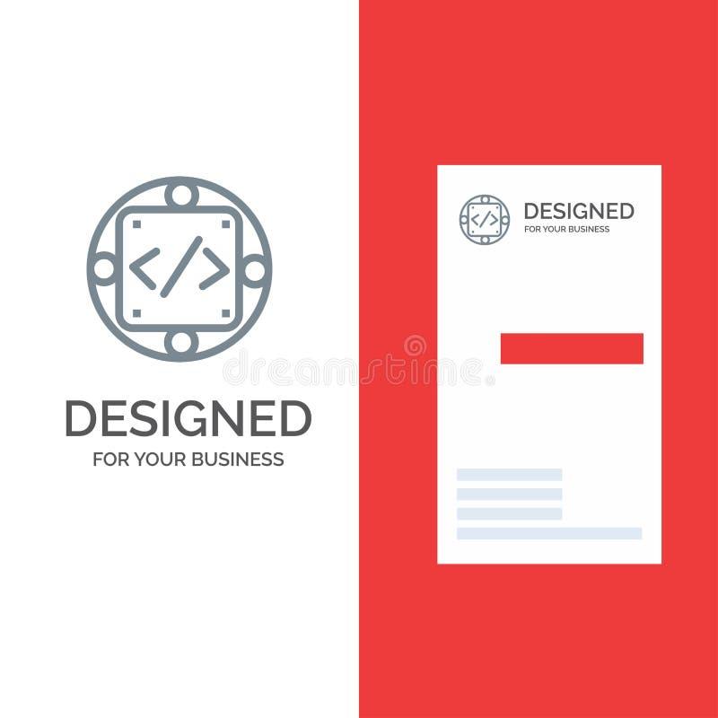 Κώδικας, συνήθεια, εφαρμογή, διαχείριση, γκρίζο σχέδιο λογότυπων προϊόντων και πρότυπο επαγγελματικών καρτών διανυσματική απεικόνιση