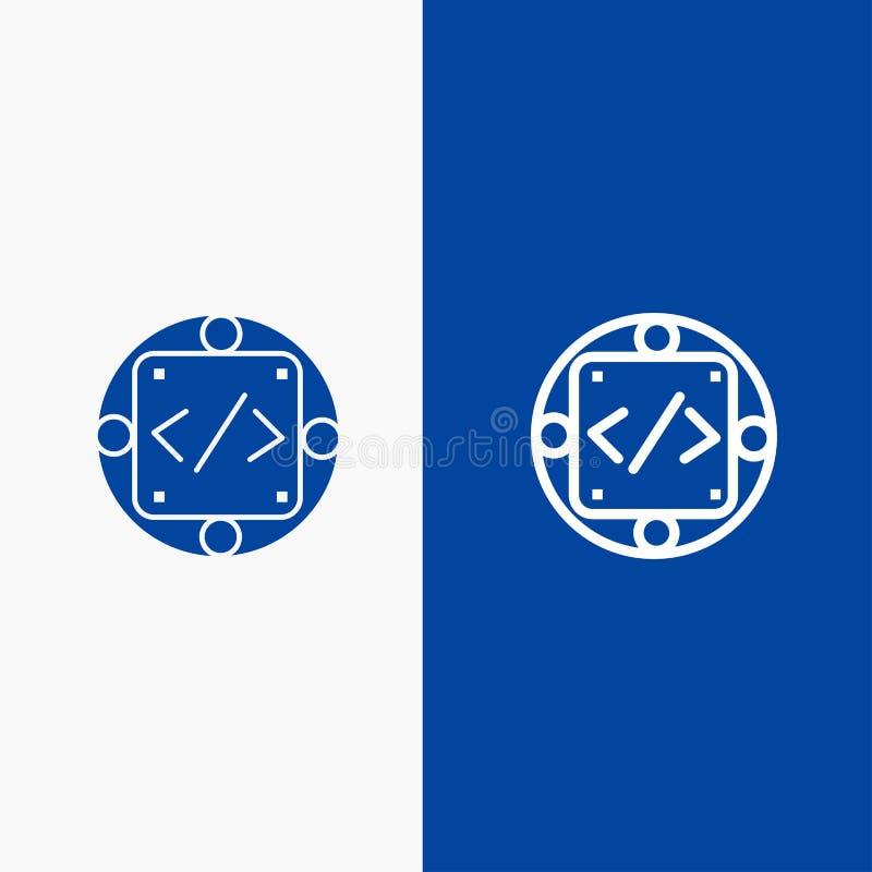 Κώδικας, συνήθεια, εφαρμογή, διαχείριση, γραμμή παραγωγής και στερεά γραμμή εμβλημάτων εικονιδίων Glyph μπλε και στερεό μπλε έμβλ ελεύθερη απεικόνιση δικαιώματος