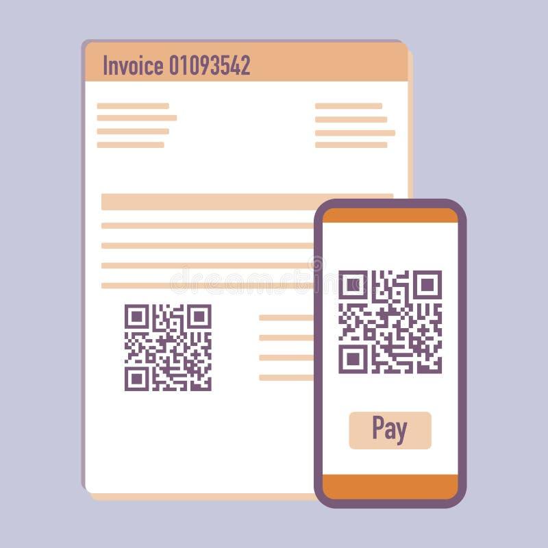 Κώδικας τηλεφωνικής ανίχνευσης qr για το τιμολόγιο πληρωμής r διανυσματική απεικόνιση