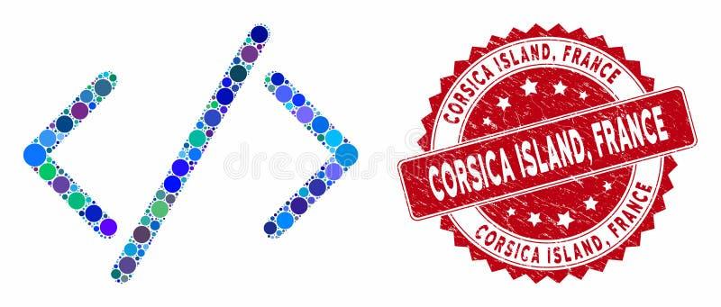 Κώδικας HTML μωσαϊκού με υφή Corsica Island, France Stamp διανυσματική απεικόνιση