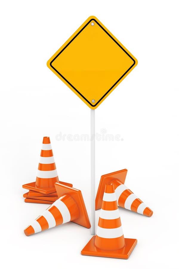 Κώνοι κυκλοφορίας και κίτρινο οδικό σημάδι με ελεύθερου χώρου για δικούς σας Des απεικόνιση αποθεμάτων