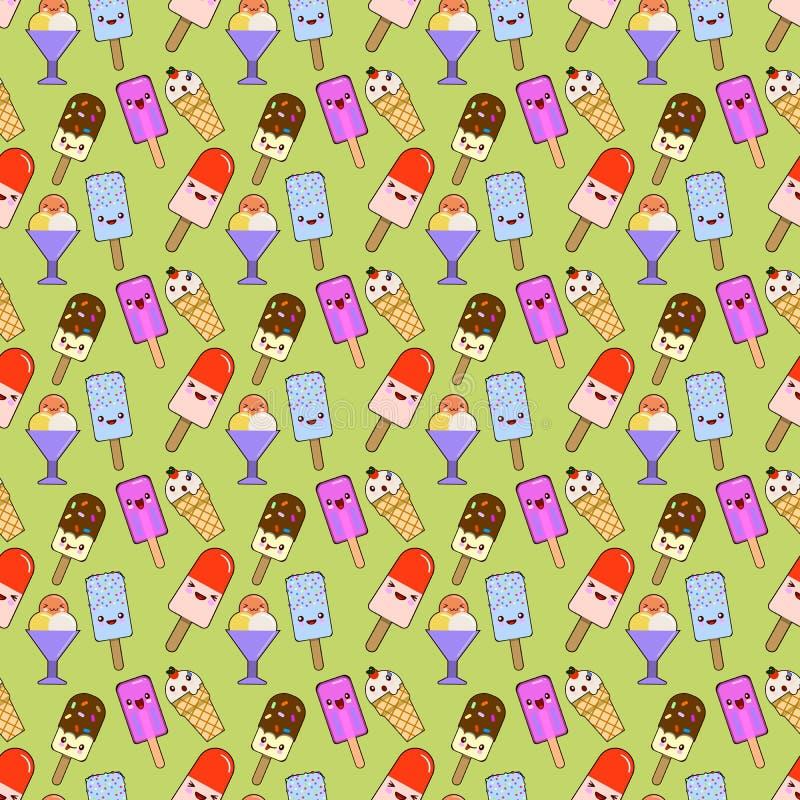 Κώνοι παγωτού, σχέδιο άνευ ραφής, χρώμα διαφορετικού, doodle συγκίνηση Χαμόγελο και 0 Αγάπη και έκπληξη r στοκ εικόνες