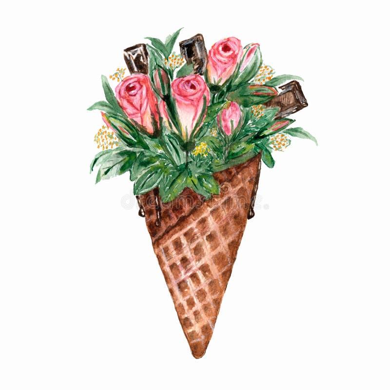 Κώνος βαφλών Watercolor με τα λουλούδια Απεικόνιση Watercolor για το σχέδιό σας, λογότυπο, πρόσκληση, γάμος, ημέρα βαλεντίνων ελεύθερη απεικόνιση δικαιώματος