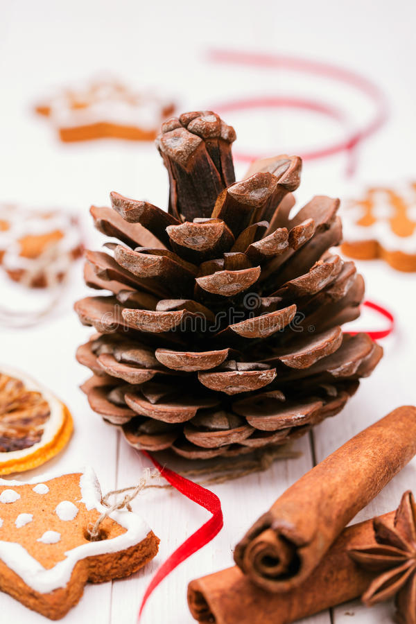 Κώνος, μπισκότα Χριστουγέννων και καρυκεύματα για τις διακοσμήσεις διακοπών στοκ εικόνες