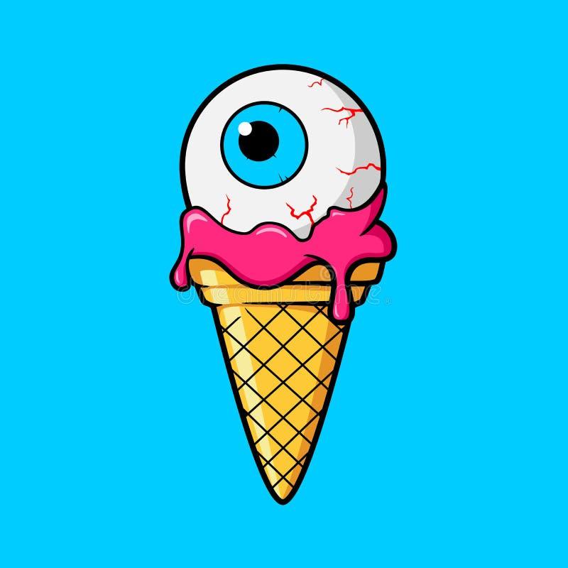 Κώνος παγωτού με το βολβό του ματιού διανυσματική απεικόνιση