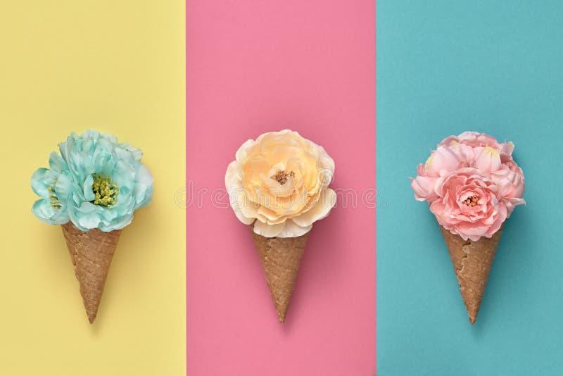 Κώνος παγωτού που τίθεται με τα λουλούδια Μόδα ελάχιστη στοκ εικόνες