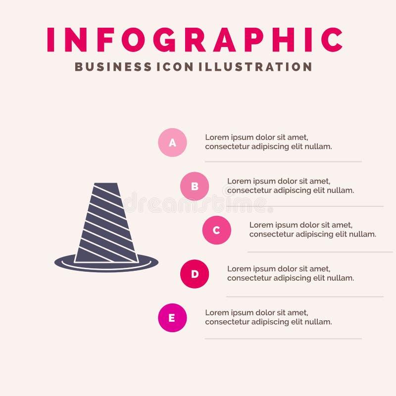 Κώνος, προστασία, δρόμος, οδόφραγμα, στάση, προειδοποιώντας στερεό εικονίδιο Infographics 5 υπόβαθρο παρουσίασης βημάτων διανυσματική απεικόνιση