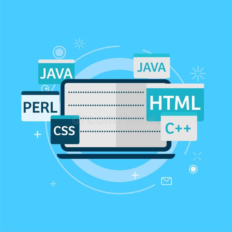 Κώδικας προγραμματισμού στο έμβλημα lap-top ελεύθερη απεικόνιση δικαιώματος