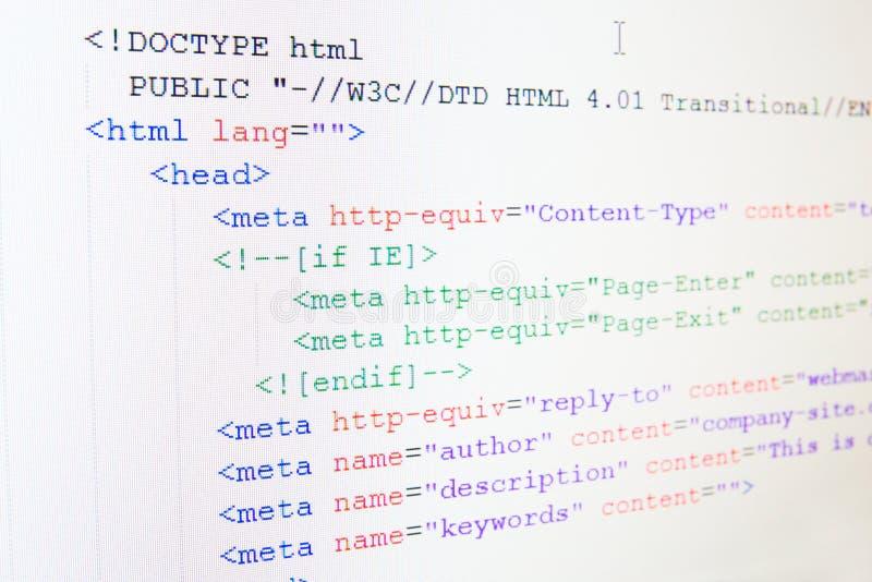 Κώδικας της γλώσσας HTML στοκ εικόνα με δικαίωμα ελεύθερης χρήσης