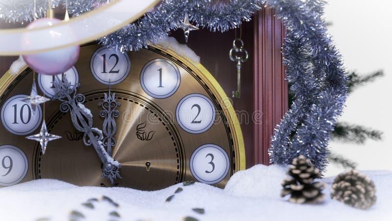 Κλάδοι ρολογιών, κλειδιών και έλατου Χριστουγέννων που καλύπτονται με το υπόβαθρο έννοιας χιονιού στοκ φωτογραφίες με δικαίωμα ελεύθερης χρήσης