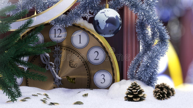 Κλάδοι ρολογιών Χριστουγέννων, γήινων διακοσμήσεων, κλειδιών και έλατου που καλύπτονται με το υπόβαθρο έννοιας χιονιού στοκ φωτογραφία με δικαίωμα ελεύθερης χρήσης