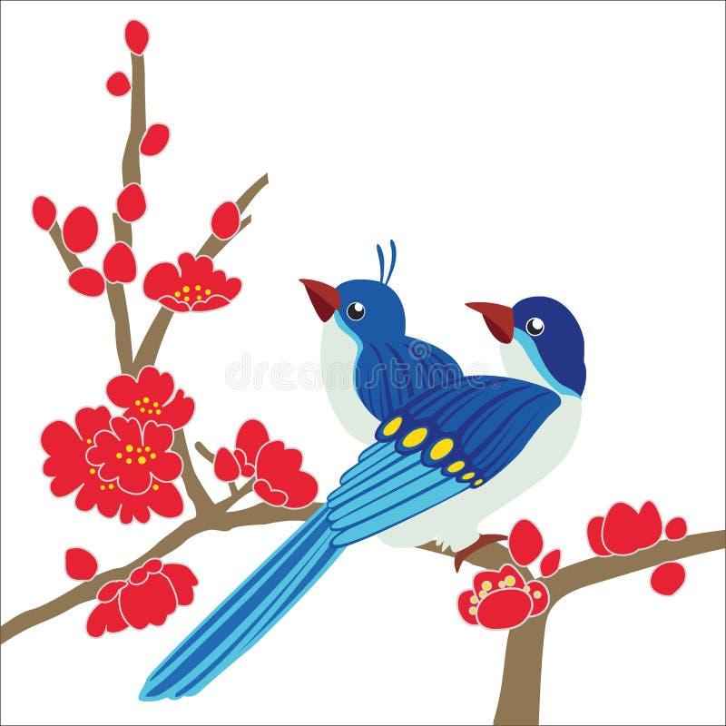 Κλάδος ανθών δαμάσκηνων πουλιών ελεύθερη απεικόνιση δικαιώματος
