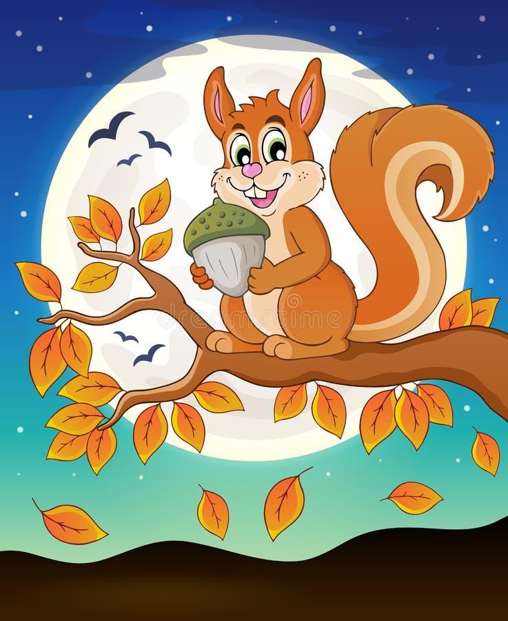 Κλάδος φθινοπώρου με το σκίουρο ελεύθερη απεικόνιση δικαιώματος
