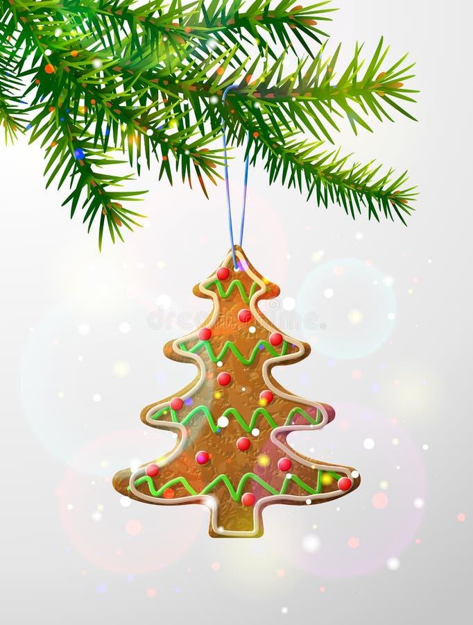 Κλάδος χριστουγεννιάτικων δέντρων με το διακοσμητικό μπισκότο απεικόνιση αποθεμάτων