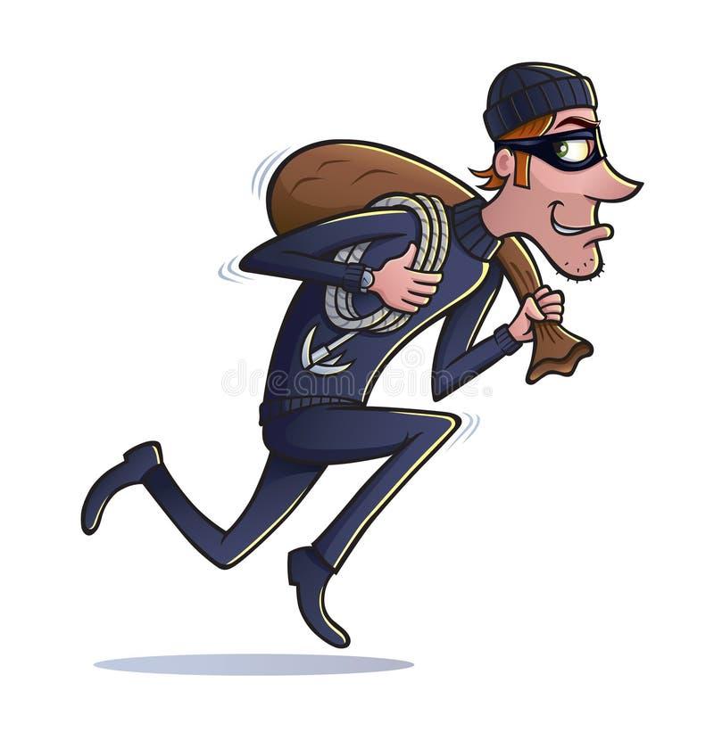 Κλέφτης που τρέχει με την τσάντα του λαφύρου διανυσματική απεικόνιση