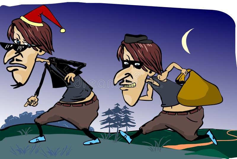Κλέφτης στη νύχτα διανυσματική απεικόνιση