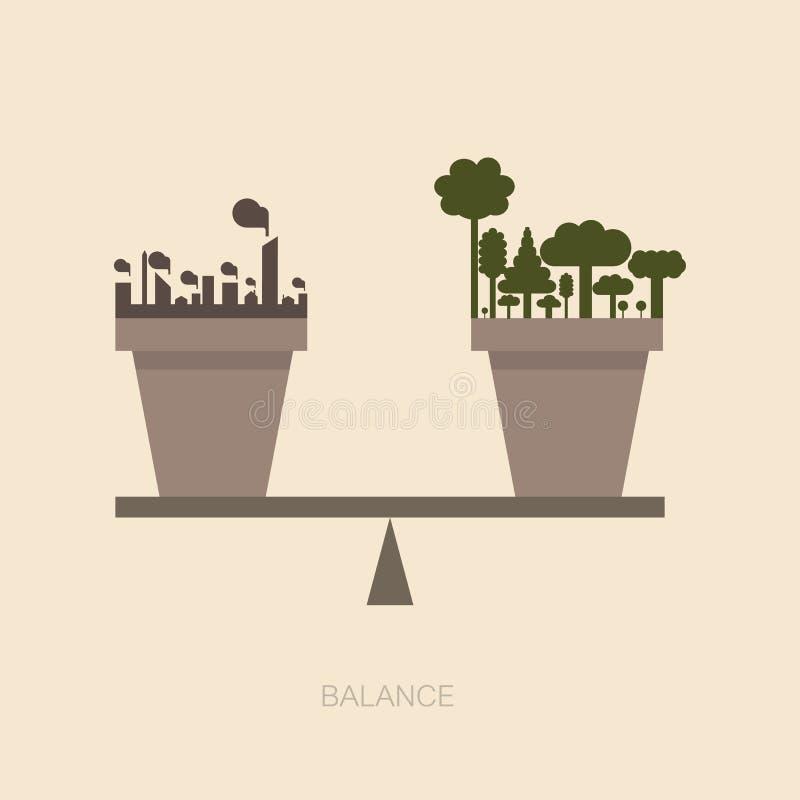 Κλίμακα ισορροπίας μεταξύ της φύσης και του ανθρώπινου constructio διανυσματική απεικόνιση