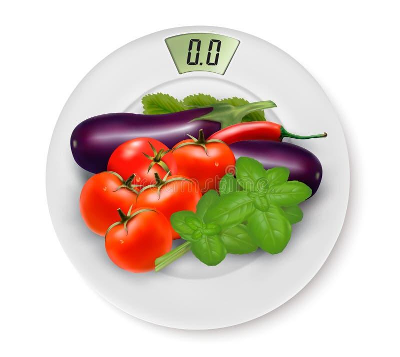Κλίμακα με τα λαχανικά σιτηρέσιο έννοιας διανυσματική απεικόνιση