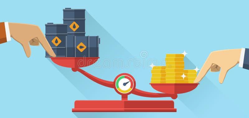 Κλίμακες με τα βαρέλια πετρελαίου και τα χρυσά νομίσματα, επίπεδο σχέδιο απεικόνιση αποθεμάτων