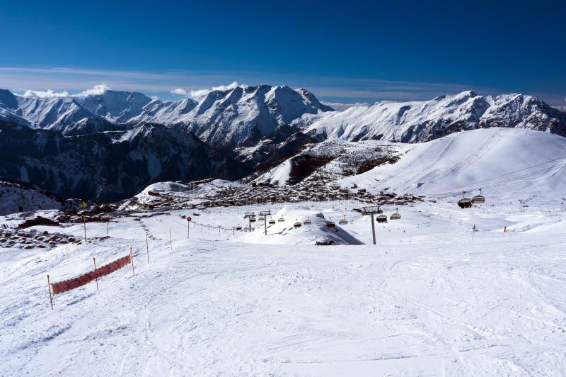 Κλίσεις σκι σε Alpe d'Huez στοκ εικόνα