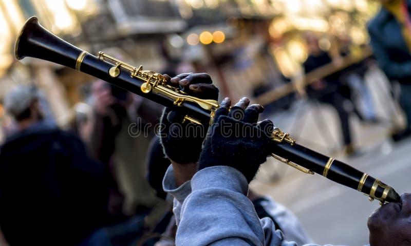 Κλαρινέτο της Jazz στη βασιλική οδό Νέα Ορλεάνη στοκ εικόνα με δικαίωμα ελεύθερης χρήσης