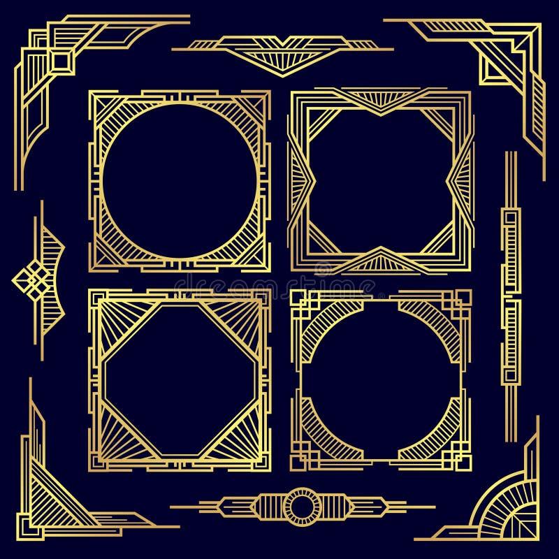 Κλασικά εκλεκτής ποιότητας γεωμετρικά πλαίσια και σύνορα απεικόνιση αποθεμάτων