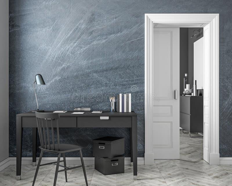 Κλασική εσωτερική χλεύη χώρων εργασίας ύφους επάνω με τον τοίχο πινάκων κιμωλίας, πίνακας, καρέκλα, πόρτα η τρισδιάστατη απεικόνι απεικόνιση αποθεμάτων