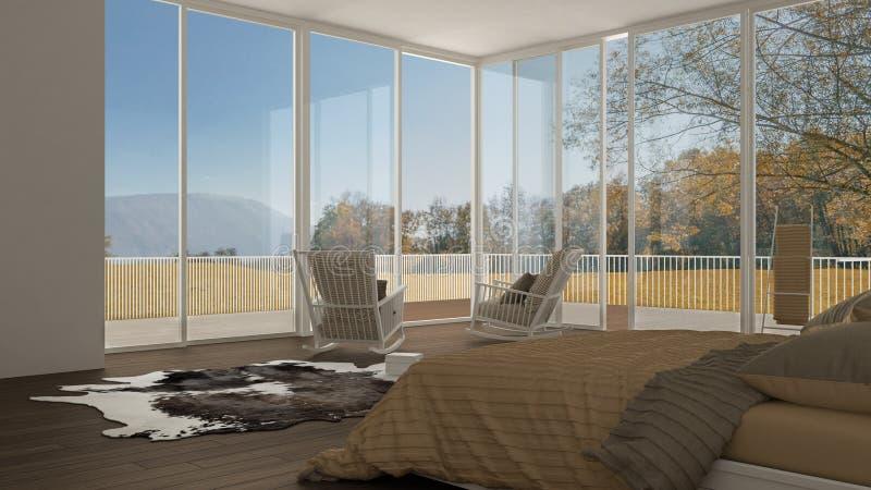 Κλασική κρεβατοκάμαρα, minimalistic άσπρο εσωτερικό σχέδιο, μεγάλα παράθυρα ελεύθερη απεικόνιση δικαιώματος